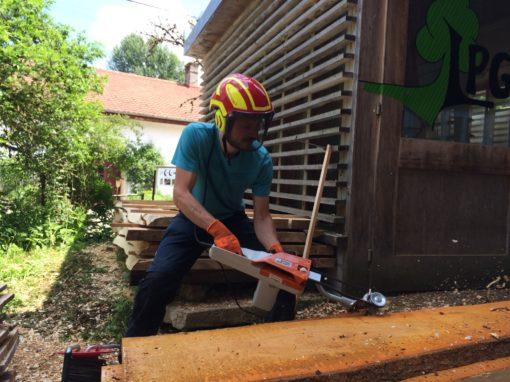 Ecorçage de notre bois